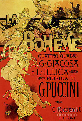 Drawing - Vintage Poster By Adolfo Hohenstein For Opera La Boheme By Giacomo Puccini by Adolfo Hohenstein