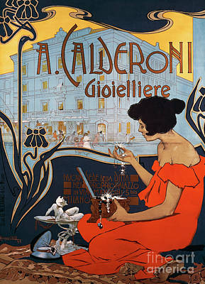 Painting - Vintage Poster For Calderoni Jewelers In Milan, 1898, By Adolf Hohenstein by Adolfo Hohenstein