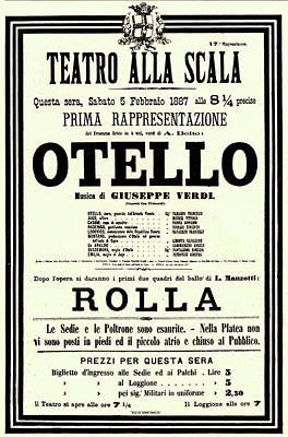 Painting - Vintage Poster For Othello By Giuseppe Verdi by Italian School