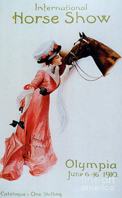 Drawing - Vintage Poster For The International Horse Show At Olympia, 1910 by English School