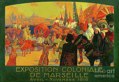 Painting - Vintage Poster For The National Colonial Exhibition, Marseille, April To November 1916 by David Dellepiane