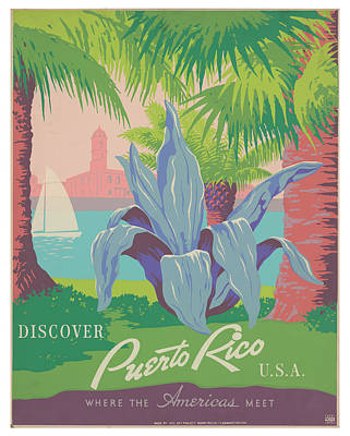 Royalty-Free and Rights-Managed Images - Vintage Puerto Rico Travel Poster by Ricky Barnard