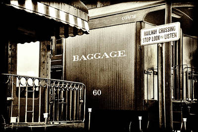 Photograph - Vintage - Railroad Baggage Car - B W by Paul W Faust - Impressions of Light