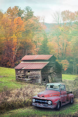 Photograph - Vintage Red Ford In The Fog by Debra and Dave Vanderlaan