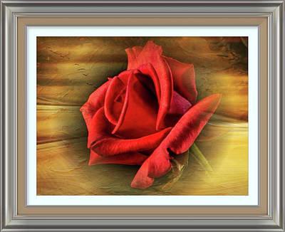 Digital Art - Vintage Red Rosebud Beauty by Clive Littin