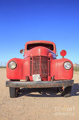 Photograph - Vintage Red Truck In The Desert by Edward Fielding