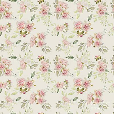 Wall Art - Mixed Media - Vintage Rose Pattern by Amanda Lakey
