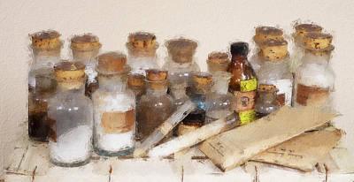 Digital Art - Vintage Set Of Chemicals by Pekka Liukkonen