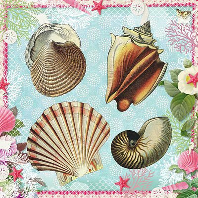 Digital Art - Vintage Shells 2 - A Day At The Beach by Peggy Collins