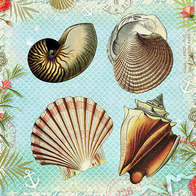 Mixed Media - Vintage Shells Collage by Peggy Collins