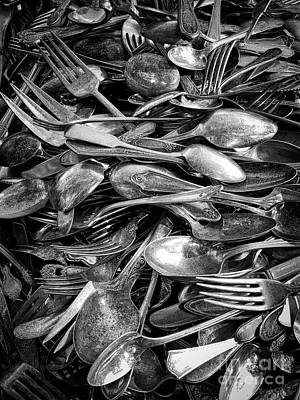Photograph - Vintage Silverware In Black And White by Carol Groenen
