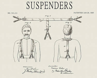 Politicians Drawings - Vintage Suspenders Design by Dan Sproul