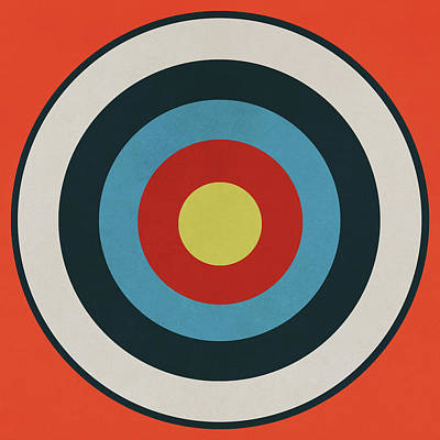 Drawing - Vintage Target - Orange by Eric Fan