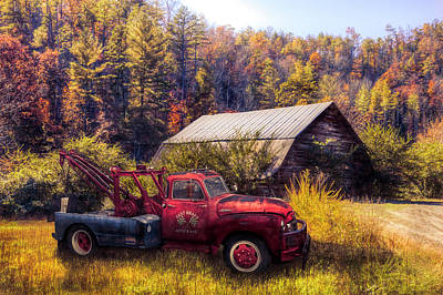 Photograph - Vintage Towing In Autumn Colors by Debra and Dave Vanderlaan
