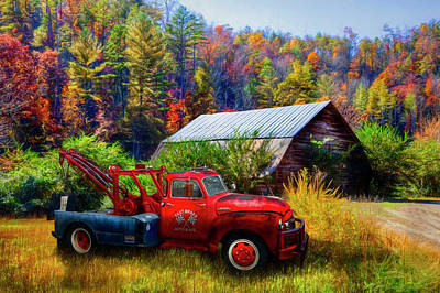 Photograph - Vintage Towing In Autumn Colors Painting by Debra and Dave Vanderlaan