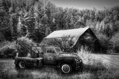 Photograph - Vintage Towing In Autumn In Black And White by Debra and Dave Vanderlaan