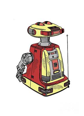 Science Fiction Drawing - Vintage Toy Robot Tee by Edward Fielding