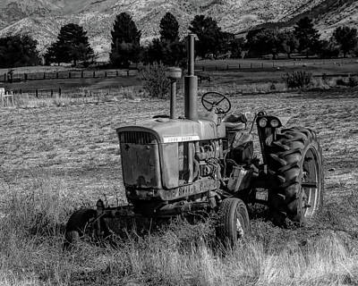 Photograph - Vintage Tractor In Honeyville Bw by David King