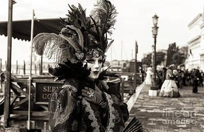 Photograph - Vintage Venice Carnival Model by John Rizzuto