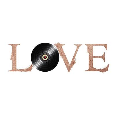 Painting - Vintage Vinyl Love Poster By Adam Asar V2 by Adam Asar