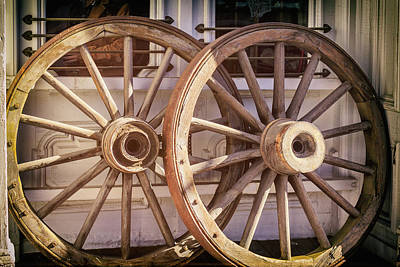 Photograph - Vintage Wagon Wheels by James Eddy
