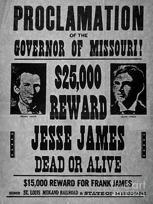 Drawing - Vintage Wanted Poster For The Arrest Of Jesse James by American School