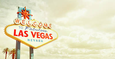 Sky Photograph - Vintage Welcome To Fabulous Las Vegas by Powerofforever