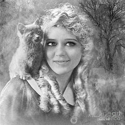 Photograph - Vintage Woman With Kitten by Kira Bodensted
