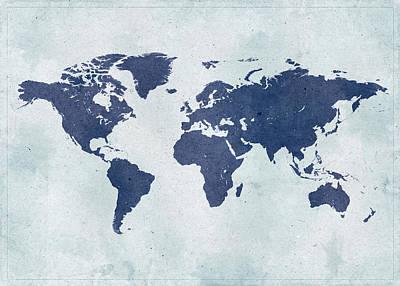 Vintage World Map Art Print by Yorkfoto