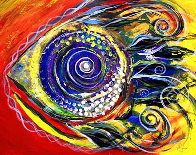 Painting - Violet  Fish On Red And Yellow by J Vincent Scarpace