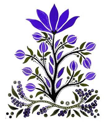 Mixed Media - Violet Slavic Flower by Anthony Mrugacz