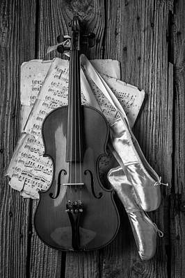 Photograph - Violin And Ballet Slippers In Black And White by Garry Gay