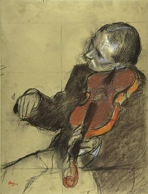 Drawing - Violinist, Study For The Dance Lesson  by Edgar Degas