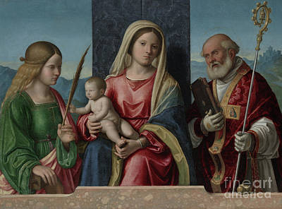 Painting - Virgin And Child With Saints Catherine And Nicholas by Giovanni Battista Cima da Conegliano