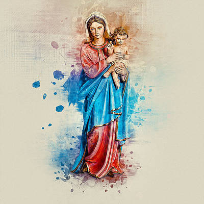 Digital Art - Virgin Mary by Ian Mitchell