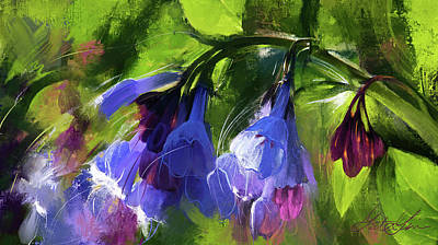 Digital Art Rights Managed Images - Virginia Bluebells Royalty-Free Image by Garth Glazier