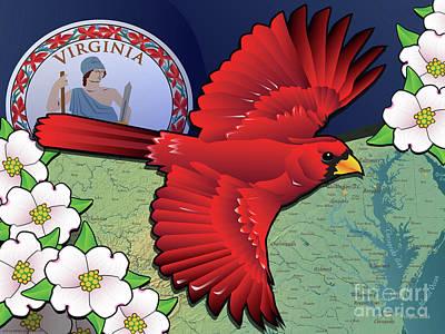 Digital Art - Virginia Cardinal In Flight With Dogwood Flowers by Joe Barsin