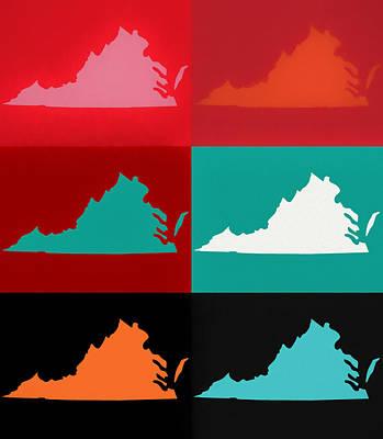 Mixed Media - Virginia Pop Art Map by Dan Sproul