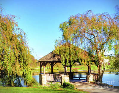 Photograph - Virginia Tech Duck Pond Gazebo In Autumn by Kerri Farley