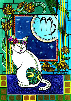 Painting - Virgo Cat Zodiac  by Dora Hathazi Mendes