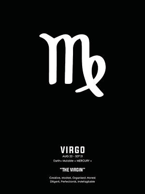 Mixed Media Royalty Free Images - Virgo Print 2 - Zodiac Signs Print - Zodiac Posters - Virgo Poster - Black and White - Virgo Traits Royalty-Free Image by Studio Grafiikka