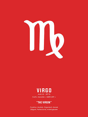 Royalty-Free and Rights-Managed Images - Virgo Print - Zodiac Signs Print - Zodiac Posters - Virgo Poster - Red and White - Virgo Traits by Studio Grafiikka