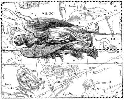 Drawing - Virgo, Zodiacal Constellation Of Maiden by Johann Hevelius
