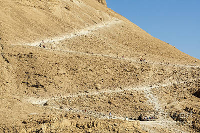 Photograph - Visitors Hike On The Snake Path On The Side Of Masada In Masada  by William Kuta