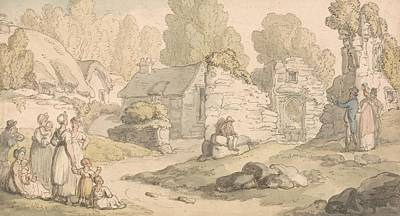 Drawing - Visitors Inspecting Abbey Ruins by Thomas Rowlandson