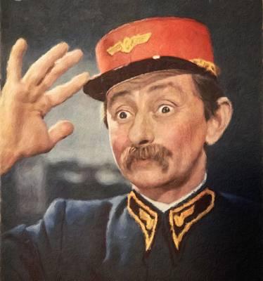 Painting - Vlasta Burian, Portrait Of Czechoslovak Actor by Vincent Monozlay