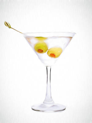 Martini Royalty-Free and Rights-Managed Images - Vodka Martini- Painting effect  by Charles Wollertz