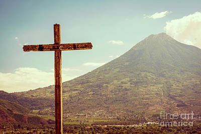 Landmarks Royalty Free Images - Volcano And Cross In Antigua Guatemala Royalty-Free Image by Tim Hester