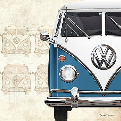 Digital Art - Volkswagen Type 2 - Blue And White Volkswagen T1 Samba Bus Over Vintage Sketch  by Serge Averbukh