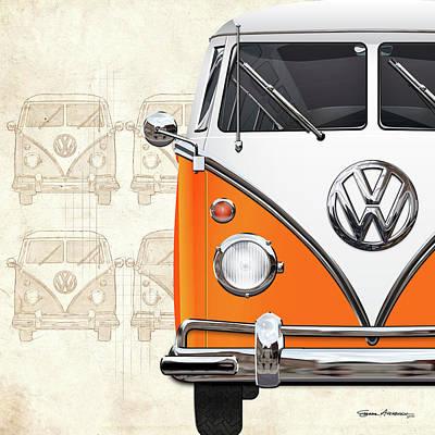 Digital Art - Volkswagen Type - Orange And White Volkswagen T1 Samba Bus Over Vintage Sketch  by Serge Averbukh